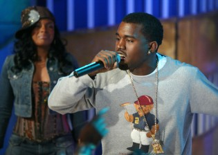 NEW YORK - MARCH 31: (U.S. TABS OUT) Rapper Kanye West performs on stage during MTV's Total Request Live at the MTV Times Square Studios March 31, 2004 in New York City. (Photo by Scott Gries/Getty Images)